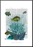 Fish Blue Shells and Corals Mounted Print by  Fab Funky