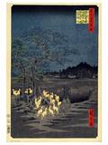 Foxes Meeting at Oji Plakat af Utagawa Hiroshige