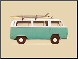Blue Van Mounted Print by Florent Bodart