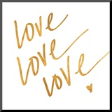 Love Love Love (gold foil) Mounted Print
