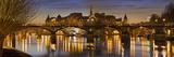 France, Paris, Hotel De Ville, Pont of the Arts, Seine, Lighting, Evening Photographic Print by Rainer Mirau