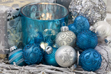 Christmas Decoration Blue and Silver Photographic Print by Andrea Haase