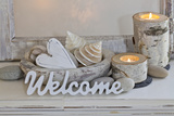 Decoration, White, Window Frame, Welcome, Candles, Bowl, Seashells, Stones, Heart Photographic Print by Andrea Haase