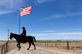 USA, Wyoming, Ranch, Sign, Cowboy, Us Flag Photographic Print by Catharina Lux