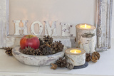 Decoration, White, Window Frame, Candles, Apple, Cone Photographic Print by Andrea Haase