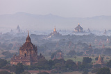 Aerial View of Ancient Temples (More Than 2200 Temples) of Bagan at Sunrise in Myanmar Reproduction photographique par Harry Marx