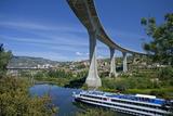 Portugal, Douro Valley, Rio Douro, Excursion Boat, Highway Bridge, Town Regua Photographic Print by Chris Seba