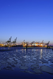 Floating Ice on the Elbe River, Harbour Cranes, Dusk, Evening Mood, NeumŸhlen Photographic Print by Axel Schmies