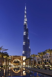 Burj Khalifa, the Highest Tower of the World, Night Photography Photographic Print by Axel Schmies
