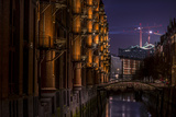 Germany, Hamburg, Speicherstadt (Warehouse District), Elbphilharmonie, Night, Night Shot Reproduction photographique par Ingo Boelter