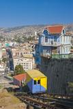 South America, Chile, Pacific Coast, Valparaiso, Harbour, Funicular Railway, Lookout Impressão fotográfica por Chris Seba
