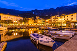 Italy, Veneto, Lake Garda, Malcesine, Harbour Against Monte Baldo Photographic Print by Udo Siebig