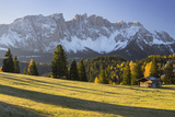 Autumnal Alp in Front of the Mountain Latemar, Kšlbleggiesen, South Tyrol Photographic Print by Rainer Mirau