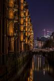 Germany, Hamburg, Speicherstadt (Warehouse District), Elbphilharmonie, Night, Night Shot Reproduction photographique par Ingo Boelter