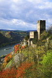 Castle Gutenfels High Above the Rhine, Autumn, on the Bottom Left the Town Kaub Photographic Print by Uwe Steffens