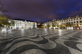 Rossio Square, Night Photography, Lisbon, Portugal Photographic Print by Axel Schmies
