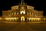 Illuminated Semperoper in Dresden in the Evening Photographic Print by Uwe Steffens