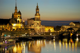View over the Elbe on the Illuminated Dresden with City Palace Fotografie-Druck von Uwe Steffens
