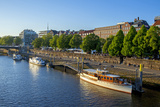 Bank of River Weser, Martinianleger, Bremen, Germany, Europe Photographic Print by Chris Seba