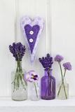 Lavender, Blossoms, Pansies, Chive Blossoms, Heart Lámina fotográfica por Andrea Haase