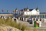 Germany, Western Pomerania, Island Usedom, Seaside Resort Ahlbeck, Pier, Beach Chairs Photographic Print by Chris Seba