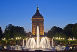 Germany, the Rhine, Baden-Wurttemberg, Mannheim, City Centre, Water Tower, Dusk, Water Fountains Photographic Print by Chris Seba