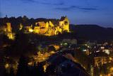 Luxembourg, Mullerthal, Larochette, Larochette Castle, Illuminated, at Night Photographic Print by Chris Seba