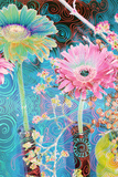 Photomontage of Gerbera in Vase with Ornate Hand Subscriptions Photographic Print by Alaya Gadeh