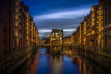 Germany, Hamburg, Speicherstadt (Warehouse District), Moated Castle, Night, Night Shot Reproduction photographique par Ingo Boelter