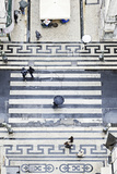 People with Umbrellas, Vertical View from the Elevador De Santa Justa, Lisbon Photographic Print by Axel Schmies
