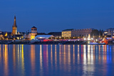 Germany, North Rhine-Westphalia, Dusseldorf, Rhine Shore, at Night, Lights, Reflection Photographic Print by Chris Seba