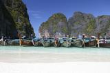 Longtail Boats at the Beach, Maya Bay at Koh Phi Phi Leh, Thailand, Andaman Sea Photographic Print by Harry Marx