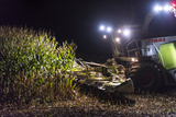 Breuberg, Hesse, Germany, Maize Harvest by Night Reproduction photographique par Bernd Wittelsbach
