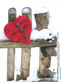 Red Heart on Old Fence, Winter, Snow Photographic Print by Andrea Haase