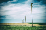 Vielbrunn, Hesse, Germany, Old Power Supply Lines Above Fields Reproduction photographique par Bernd Wittelsbach