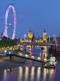 River Thames, Hungerford Bridge, Westminster Palace, London Eye, Big Ben Photographic Print by Rainer Mirau