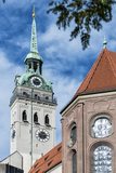 Munich, Bavaria, Germany, View to St. Peter's Church from the Viktualienmarkt (Food Market) Reproduction photographique par Bernd Wittelsbach