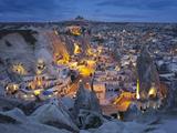 City View of Gšreme by Night, Cappadocia, Anatolia, Turkey Photographic Print by Rainer Mirau