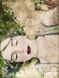 A Portrait of a Woman with Closed Eyes, Green Hair and Full Red Lips Reproduction photographique par Alaya Gadeh
