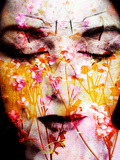 A Montage of a Portrait of a Womans Face with Flowers and Textures Reproduction photographique par Alaya Gadeh