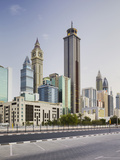 Skyscrapers at the 308th Road, Sheikh Zayed Road, Dubai, United Arab Emirates Photographic Print by Rainer Mirau