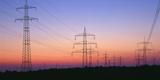 High-Voltage Poles, Transmission Line, Evening Mood Photographic Print by Herbert Kehrer
