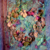 A Floral Montage of Roses and Seashells on a Book Stampa fotografica di Alaya Gadeh