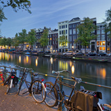 Bicycles, Houses Near the Keizersgracht, Amsterdam, the Netherlands Photographic Print by Rainer Mirau
