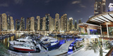 Dubai Marina, Night Photography, Yachts, Tower, Hotels Photographic Print by Axel Schmies