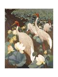 Indian Sarus Cranes on Gold Leaf Poster tekijänä Jesse Arms Botke