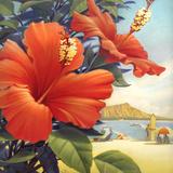 Hibiscus Beach Day Premium Giclee-trykk av Kerne Erickson