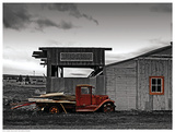 Red Truck at Old Barn Prints by G. Sanders