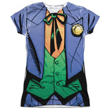 Juniors: Batman- Joker Bolo Tie Costume Tee Womens Sublimated