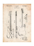 Fender Precision Bass Guitar Patent Posters par Cole Borders